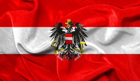 Realistic flag of Austria on the wavy surface of fabric Imagens
