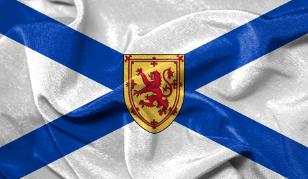 Realistic flag of Nova Scotia on the wavy surface of fabric Stock Photo