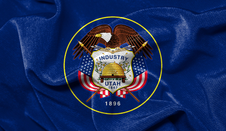 Realistic flag State of Utah on the wavy surface of fabric