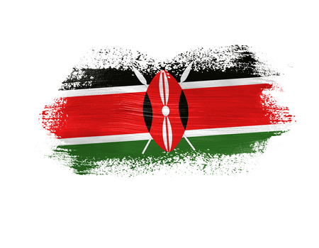 brush painted flag of Kenya isolated on white background.