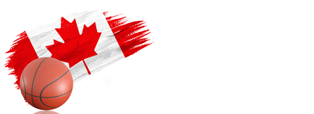 Painted brush stroke in the flag of Canada. Basketball banner with classic design isolated on white background with place for your text.