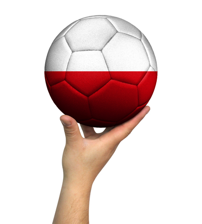 Man holding Soccer ball with Poland flag, isolated on white background. Stockfoto