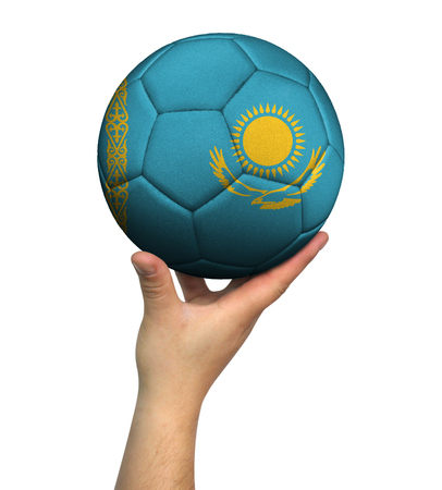 Man holding Soccer ball with Kazakhstan flag, isolated on white background.