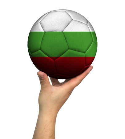 Man holding Soccer ball with Bulgaria flag, isolated on white background.