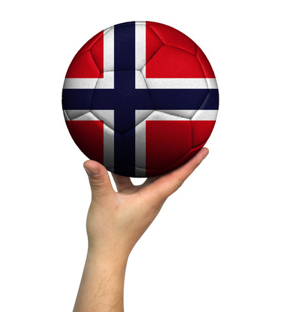 Man holding Soccer ball with Norway flag, isolated on white background. Stockfoto