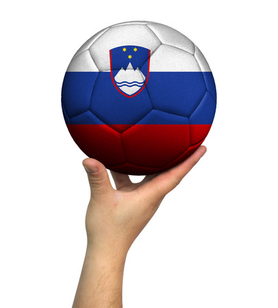 Man holding Soccer ball with Slovenia flag, isolated on white background.