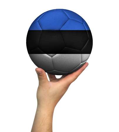 Man holding Soccer ball with Estonia flag, isolated on white background.