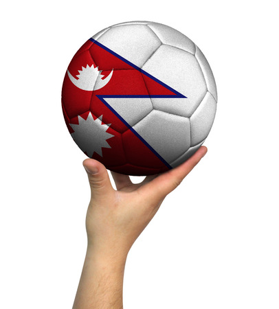 Man holding Soccer ball with Nepal flag, isolated on white background.