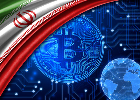 Flag of Iran is shown against the background of crypto currency bitcoin. Global world crypto currency-bitcoin. Shows the current exchange rate, fluctuations, the growth and fall graph