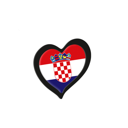Croatia Flag Inside Heart. Eurovision Song Contest concept on a white background. 3d Rendering