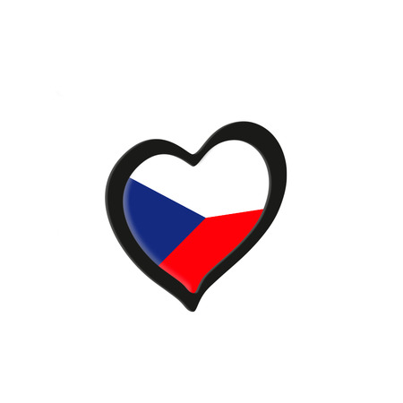 Czech Republic Flag Inside Heart. Eurovision Song Contest concept on a white background. 3d Rendering Stock Photo