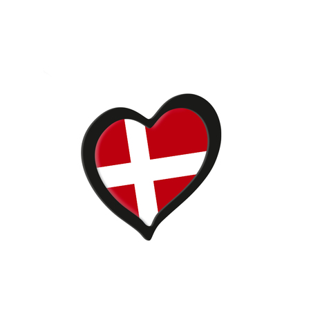 Denmark Flag Inside Heart. Eurovision Song Contest concept on a white background. 3d Rendering Stock Photo