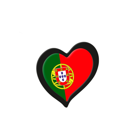 Portugal Flag Inside Heart. Eurovision Song Contest concept on a white background. 3d Rendering