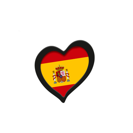 Spain Flag Inside Heart. Eurovision Song Contest concept on a white background. 3d Rendering