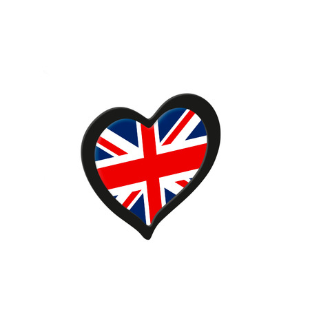 United Kingdom Flag Inside Heart. Eurovision Song Contest concept on a white background. 3d Rendering
