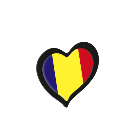 Romania Flag Inside Heart. Eurovision Song Contest concept on a white background. 3d Rendering