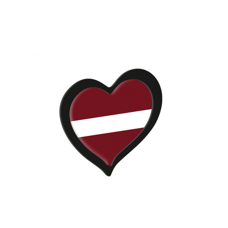 Latvia Flag Inside Heart. Eurovision Song Contest concept on a white background. 3d Rendering