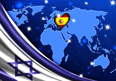 Eurovision Song Contest 2019 with the Flag of Israel. Tel Alive music contest. Heart logo concept with the flag of Spain.