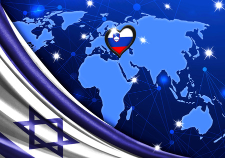 Eurovision Song Contest 2019 with the Flag of Israel. Tel Alive music contest. Heart logo concept with the flag of Slovenia. Stock Photo