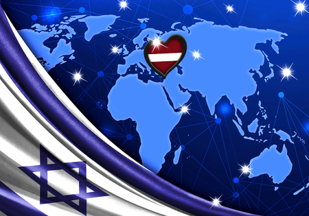 Eurovision Song Contest 2019 with the Flag of Israel. Tel Alive music contest. Heart logo concept with the flag of Latvia.