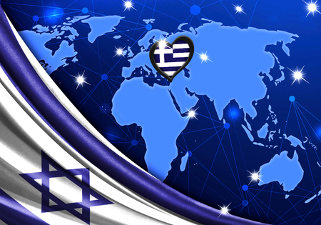 Eurovision Song Contest 2019 with the Flag of Israel. Tel Alive music contest. Heart logo concept with the flag of Greece.