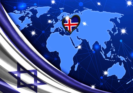 Eurovision Song Contest 2019 with the Flag of Israel. Tel Alive music contest. Heart logo concept with the flag of Iceland. Stock Photo