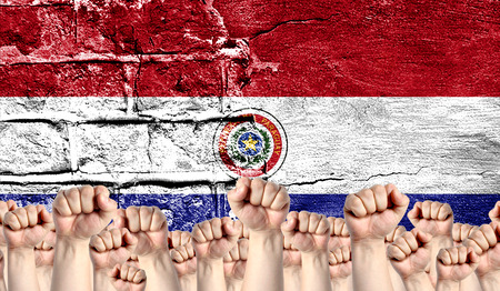 Male hands clenched in a fist raised up against the backdrop of a destroyed brick wall with a flag of Paraguay. The concept of the labor movement from the people, the power and strength of civil society. Stock Photo