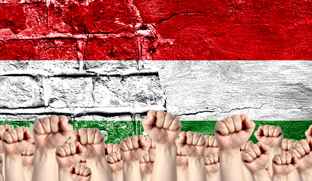 Male hands clenched in a fist raised up against the backdrop of a destroyed brick wall with a flag of Hungary. The concept of the labor movement from the people, the power and strength of civil society.