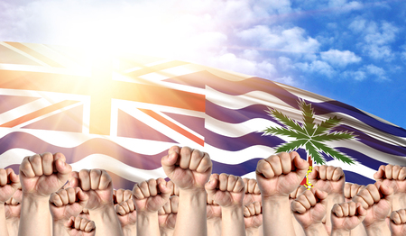 Labor Day concept with fists of men against the background of the flag of British Territory in the Indian Ocean