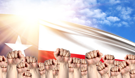 Labor Day concept with fists of men against the background of the flag State of Texas