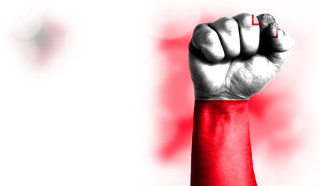Flag of malta painted on male fist, strength,power,concept of conflict. On a blurred background with a good place for your text.