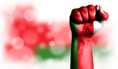 Flag of Oman painted on male fist, strength,power,concept of conflict. On a blurred background with a good place for your text. Stock Photo