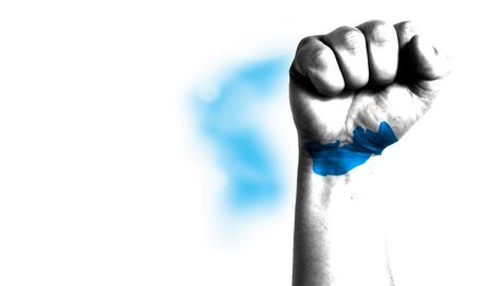 Flag of Korean Unification painted on male fist, strength,power,concept of conflict. On a blurred background with a good place for your text.