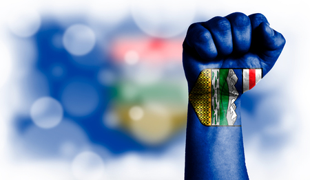 Flag of Alberta painted on male fist, strength,power,concept of conflict. On a blurred background with a good place for your text.