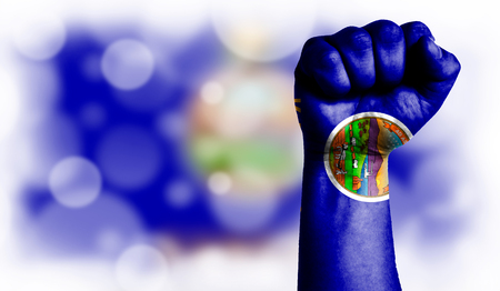 Flag State of Kansas painted on male fist, strength,power,concept of conflict. On a blurred background with a good place for your text.