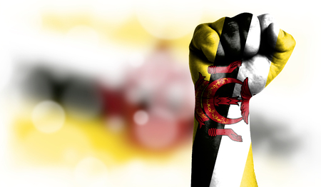 Flag of Brunei painted on male fist, strength,power,concept of conflict. On a blurred background with a good place for your text.
