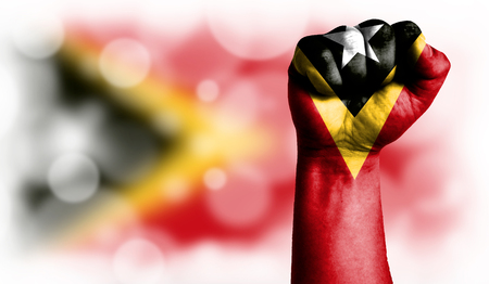 Flag of East Timor painted on male fist, strength,power,concept of conflict. On a blurred background with a good place for your text.