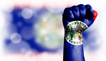 Flag of Belize painted on male fist, strength,power,concept of conflict. On a blurred background with a good place for your text.