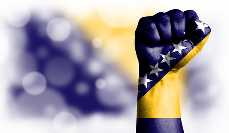 Flag of Bosnia and Herzegovina painted on male fist, strength,power,concept of conflict. On a blurred background with a good place for your text. Stock Photo