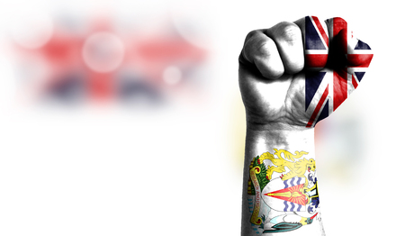 Flag of British Antarctic Territory painted on male fist, strength,power,concept of conflict. On a blurred background with a good place for your text. Stock Photo