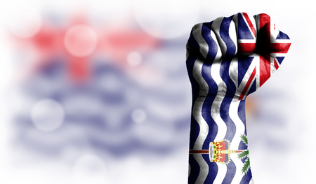Flag of British Territory in the Indian Ocean painted on male fist, strength,power,concept of conflict. On a blurred background with a good place for your text.