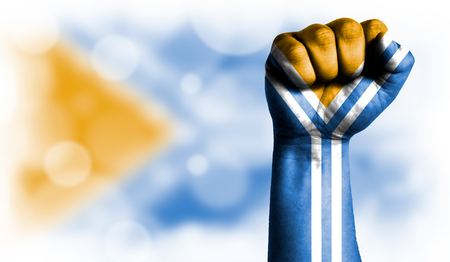 Flag of Tuva painted on male fist, strength,power,concept of conflict. On a blurred background with a good place for your text.
