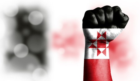 Flag of Udmurtia painted on male fist, strength,power,concept of conflict. On a blurred background with a good place for your text.