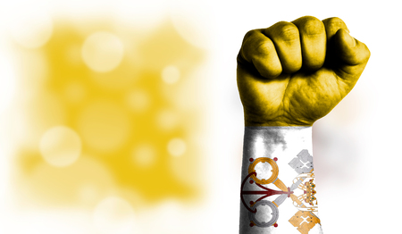 Flag of Vatican city Holy see painted on male fist, strength,power,concept of conflict. On a blurred background with a good place for your text.