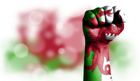 Flag of Wales painted on male fist, strength,power,concept of conflict. On a blurred background with a good place for your text.