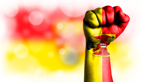 Flag of Burgenland painted on male fist, strength,power,concept of conflict. On a blurred background with a good place for your text.