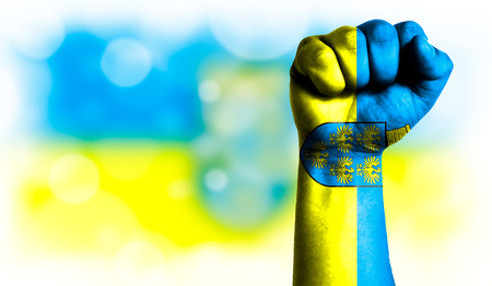 Flag of Lower Austria painted on male fist, strength,power,concept of conflict. On a blurred background with a good place for your text. Stock Photo