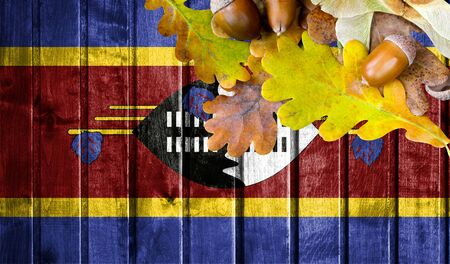 Swaziland flag on autumn wooden background with leaves and good place for your text.