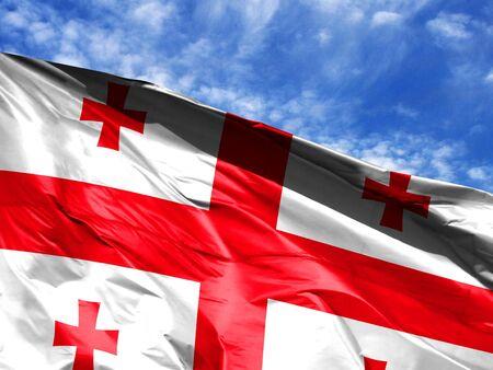 waving flag of Georgia close up against blue sky 免版税图像 - 125481575
