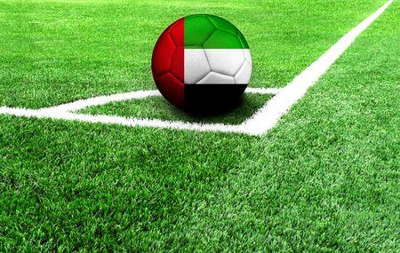 Fußball auf einer grünen Wiese, Flagge der Vereinigten Arabischen Emirate Standard-Bild